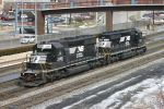 A westbound helper set passes the Altoona Amtrak station